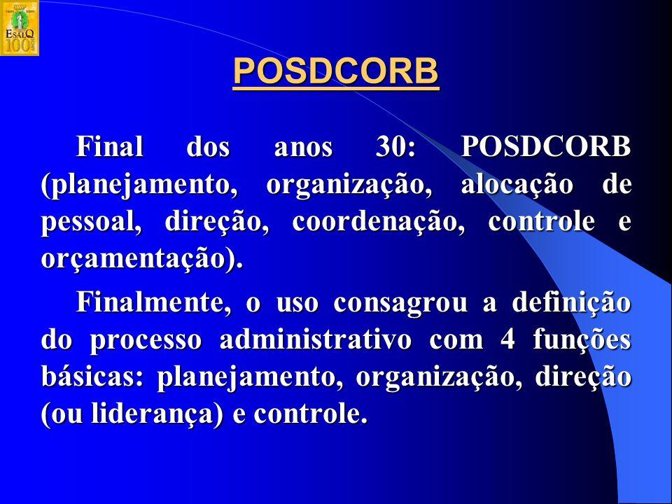 POSDCORB Final dos anos 30: POSDCORB (planejamento, organização, alocação de pessoal, direção, coordenação, controle e orçamentação).