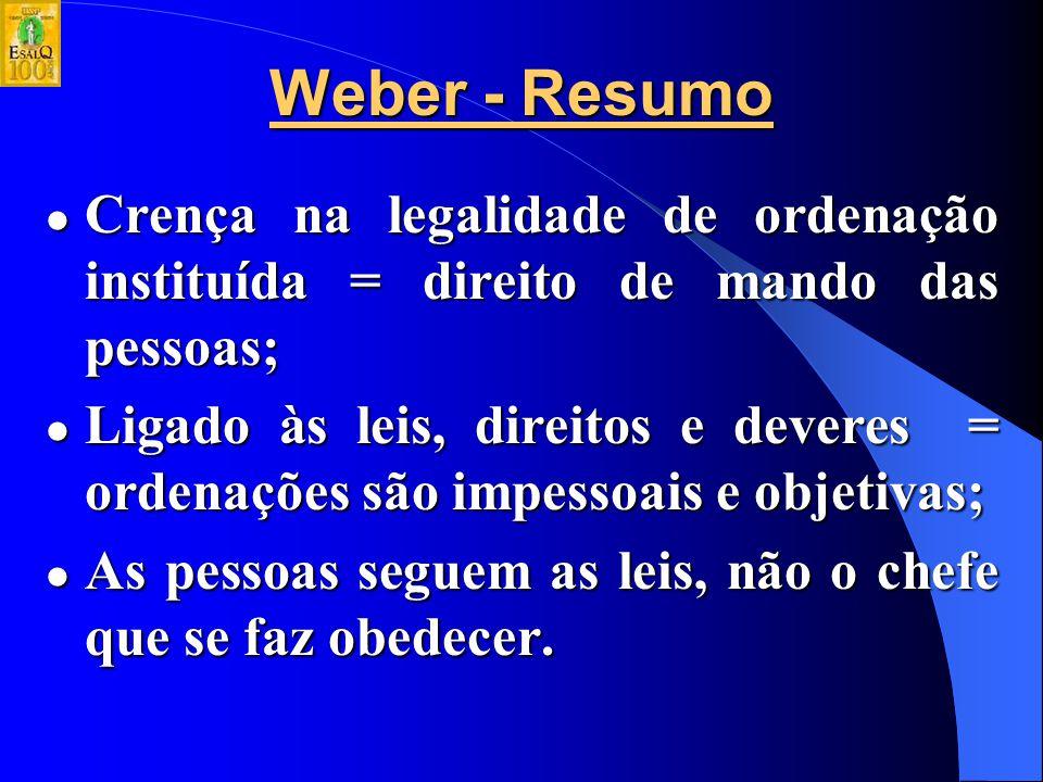Encantamento de Weber pela base da autoridade em organização e normas Premissas da autoridade legal-racional