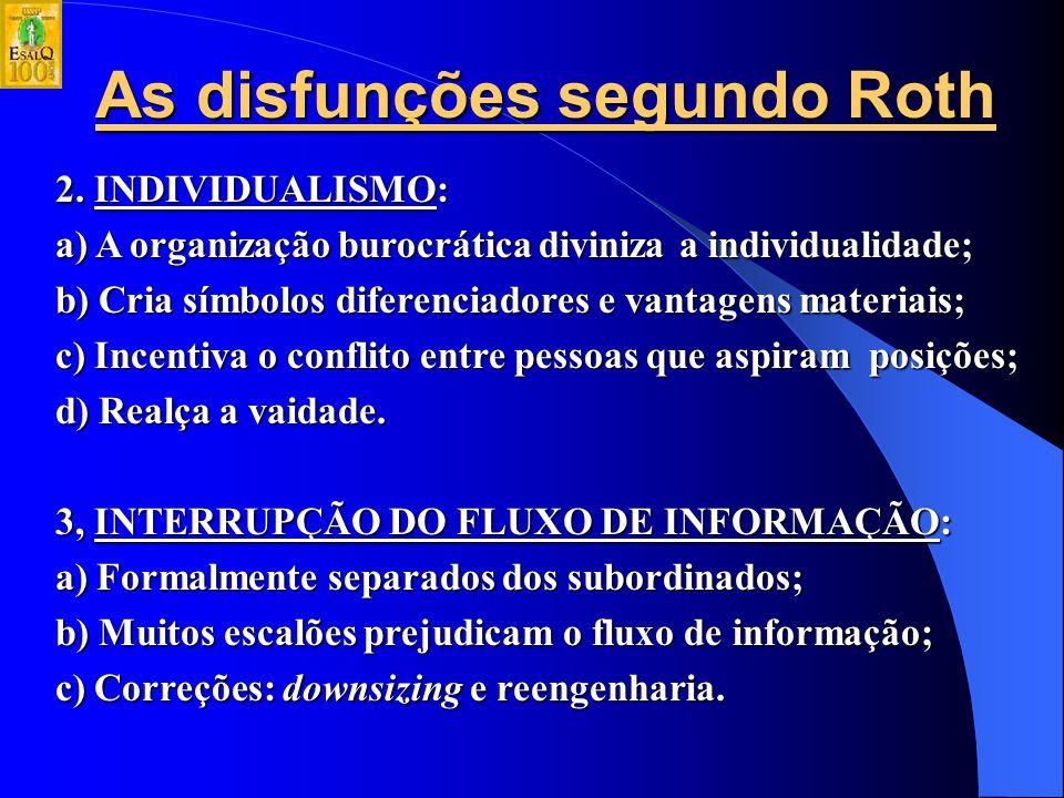 As disfunções segundo Roth 1. MECANICISMO: a) O profissionalismo exige que as pessoas desempenhem papéis limitados, com responsabilidades limitadas e