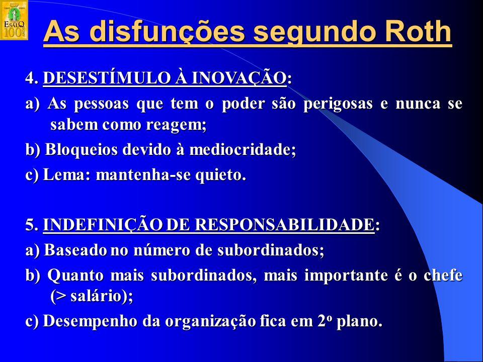 As disfunções segundo Roth 2. INDIVIDUALISMO: a) A organização burocrática diviniza a individualidade; b) Cria símbolos diferenciadores e vantagens ma