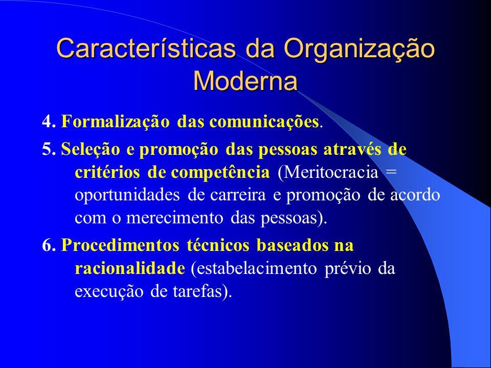 Características da Organização Moderna Seis características básicas: 1. Divisão do trabalho baseada na especialização funcional das pessoas (funções e