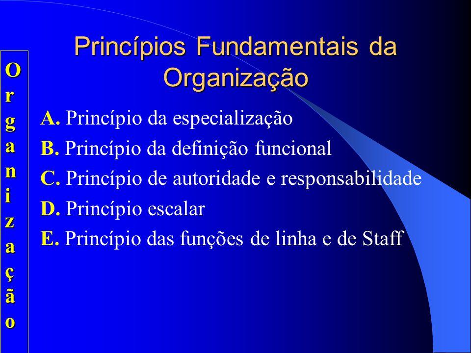 Princípios Fundamentais da Organização Visam o alcance da eficiência e eficácia: - Eficiência: otimização dos meios (métodos e maneiras de se fazer as