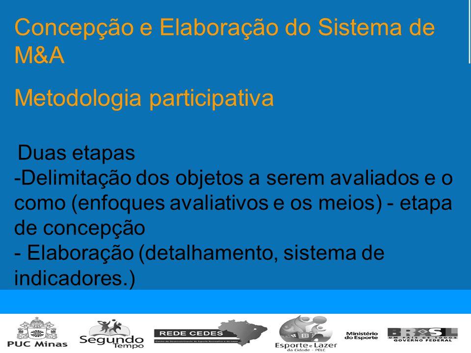 Concepção e Elaboração do Sistema de M&A Metodologia participativa Duas etapas -Delimitação dos objetos a serem avaliados e o como (enfoques avaliativos e os meios) - etapa de concepção - Elaboração (detalhamento, sistema de indicadores.)