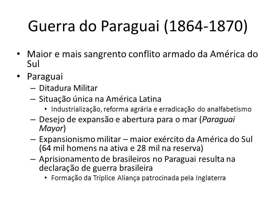 Guerra do Paraguai (1864-1870) Maior e mais sangrento conflito armado da América do Sul Paraguai – Ditadura Militar – Situação única na América Latina