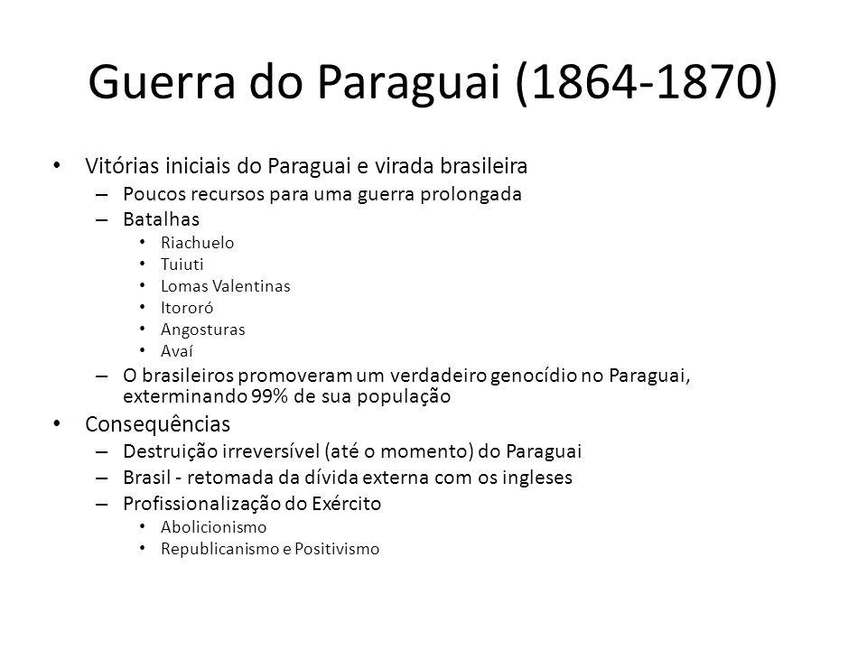 Guerra do Paraguai (1864-1870) Vitórias iniciais do Paraguai e virada brasileira – Poucos recursos para uma guerra prolongada – Batalhas Riachuelo Tui