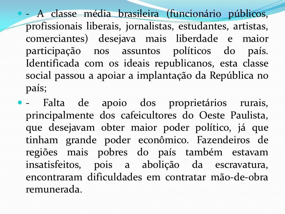 - A classe média brasileira (funcionário públicos, profissionais liberais, jornalistas, estudantes, artistas, comerciantes) desejava mais liberdade e maior participação nos assuntos políticos do país.