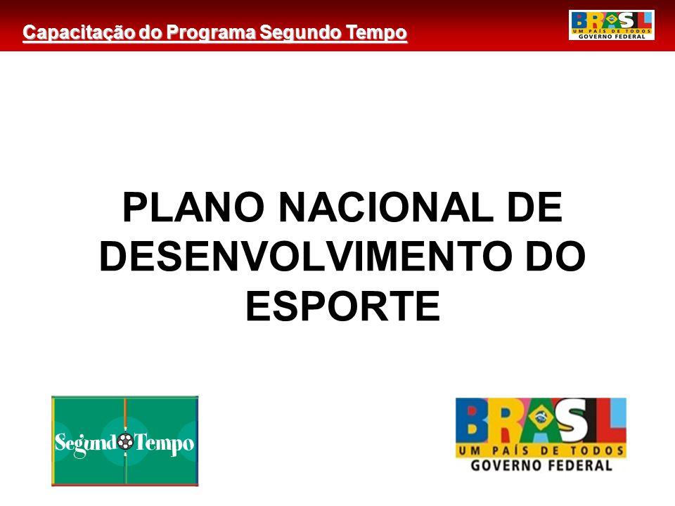 Capacitação do Programa Segundo Tempo PLANO NACIONAL DE DESENVOLVIMENTO DO ESPORTE