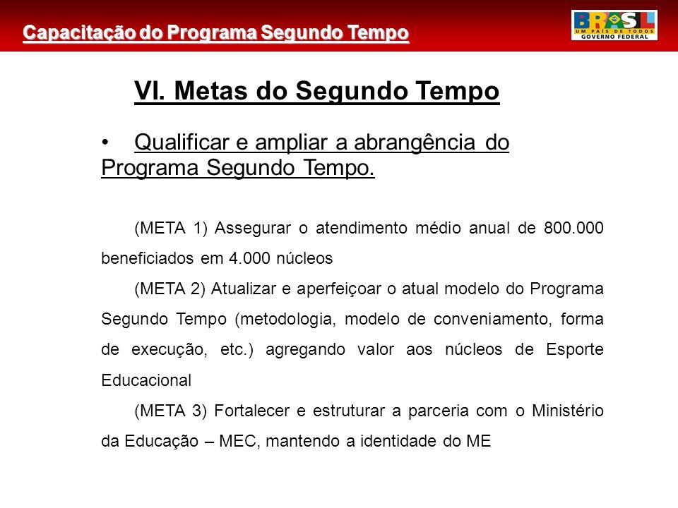Capacitação do Programa Segundo Tempo 2 VI. Metas do Segundo Tempo Qualificar e ampliar a abrangência do Programa Segundo Tempo. (META 1) Assegurar o