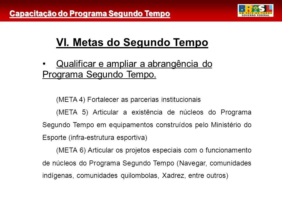 Capacitação do Programa Segundo Tempo 2 VI. Metas do Segundo Tempo Qualificar e ampliar a abrangência do Programa Segundo Tempo. (META 4) Fortalecer a