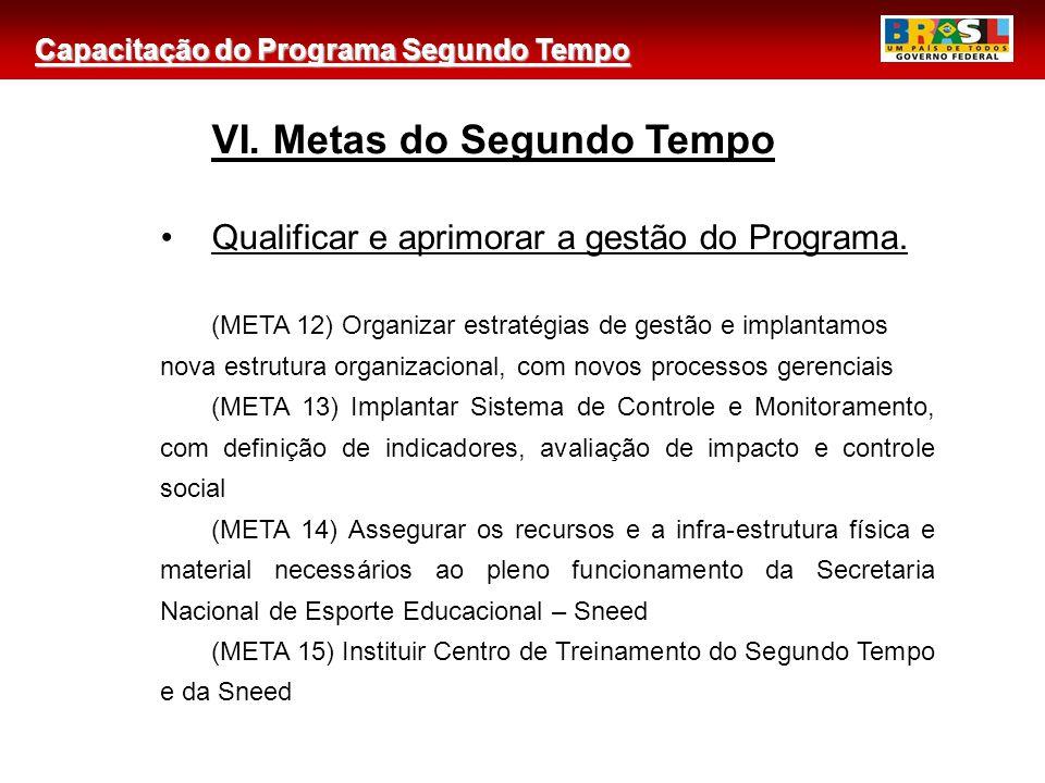 Capacitação do Programa Segundo Tempo 2 VI. Metas do Segundo Tempo Qualificar e aprimorar a gestão do Programa. (META 12) Organizar estratégias de ges