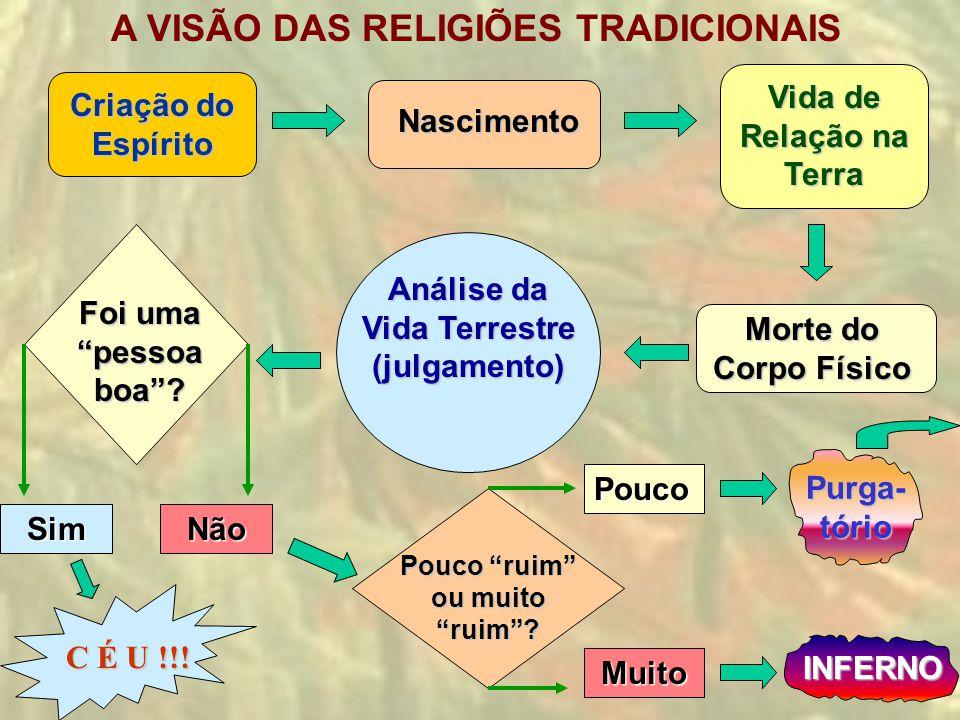 Criação do Espírito A VISÃO DAS RELIGIÕES TRADICIONAISNascimento Vida de Relação na Terra Morte do Corpo Físico Análise da Vida Terrestre (julgamento)