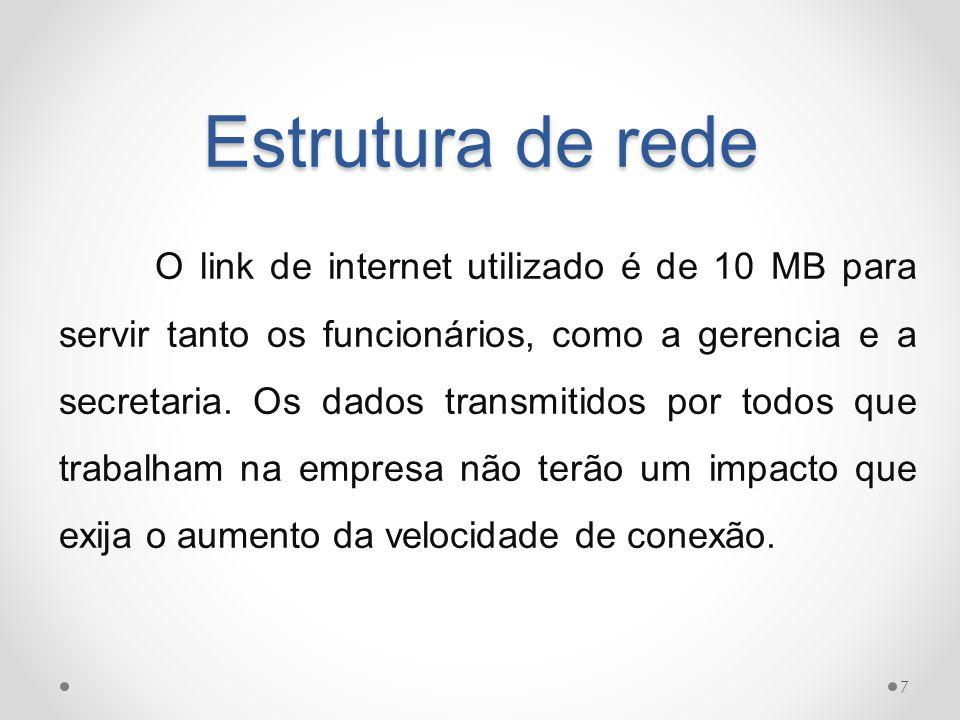 Estrutura de rede O link de internet utilizado é de 10 MB para servir tanto os funcionários, como a gerencia e a secretaria. Os dados transmitidos por