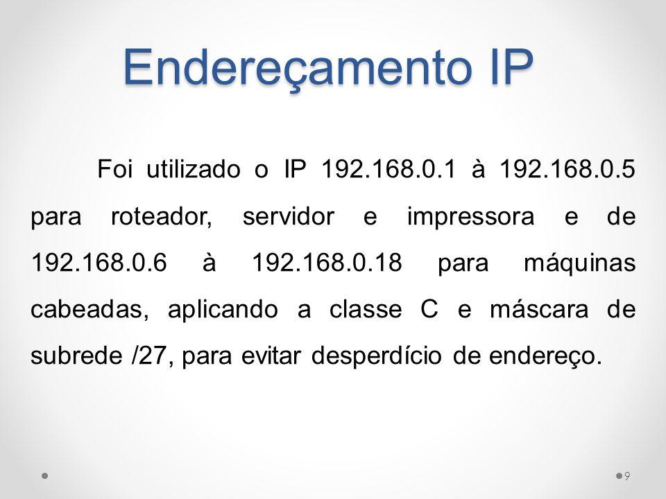 Endereçamento IP 9 Foi utilizado o IP 192.168.0.1 à 192.168.0.5 para roteador, servidor e impressora e de 192.168.0.6 à 192.168.0.18 para máquinas cab