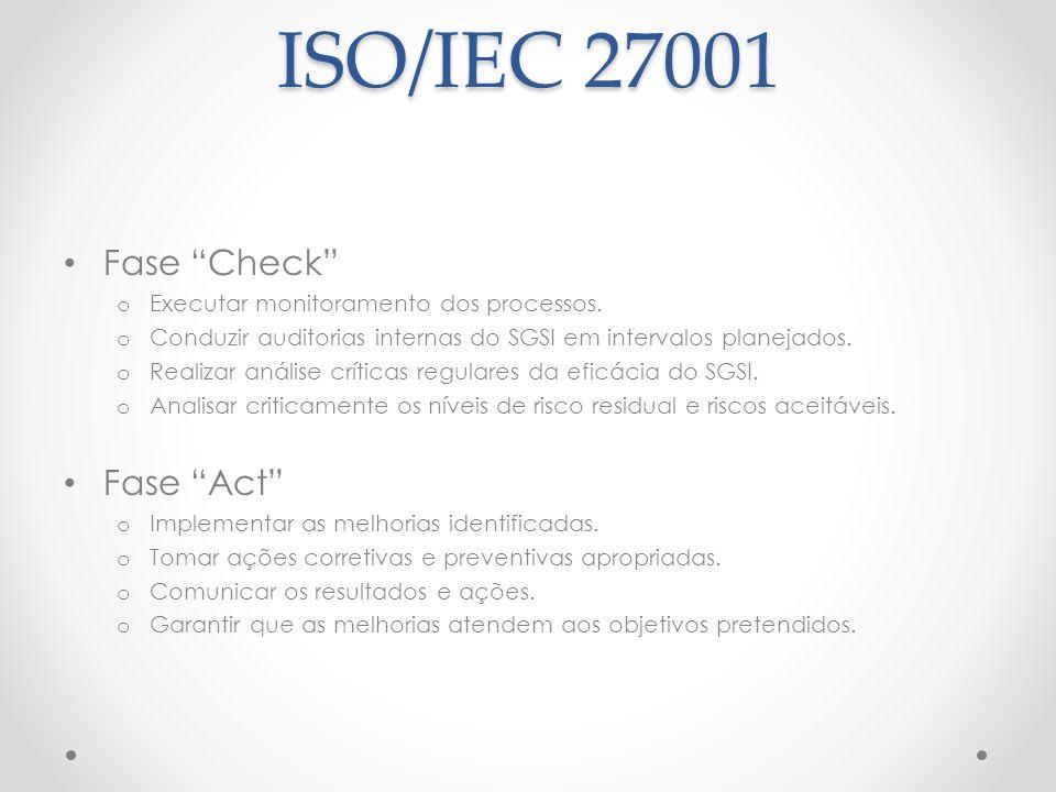 """ISO/IEC 27001 Fase """"Check"""" o Executar monitoramento dos processos. o Conduzir auditorias internas do SGSI em intervalos planejados. o Realizar análise"""
