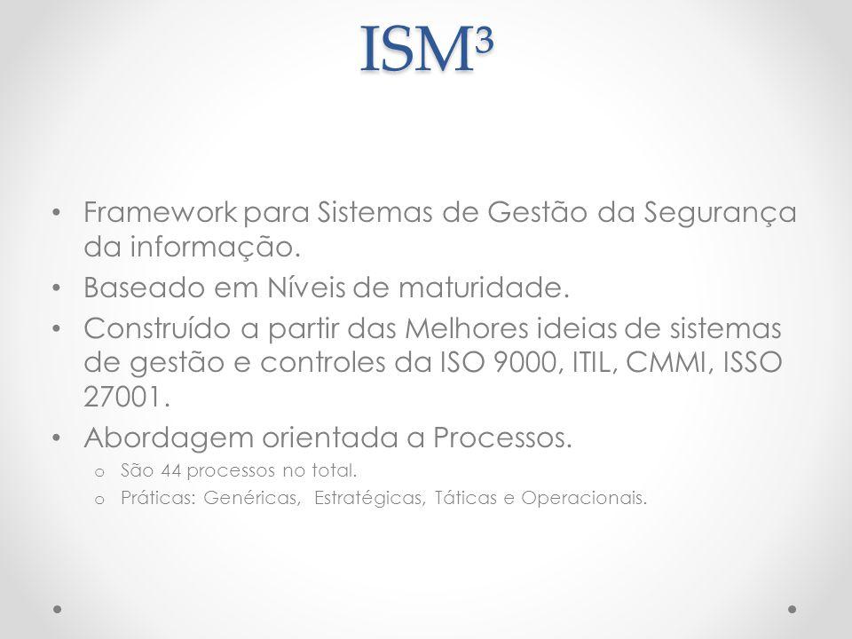 ISM³ Framework para Sistemas de Gestão da Segurança da informação. Baseado em Níveis de maturidade. Construído a partir das Melhores ideias de sistema