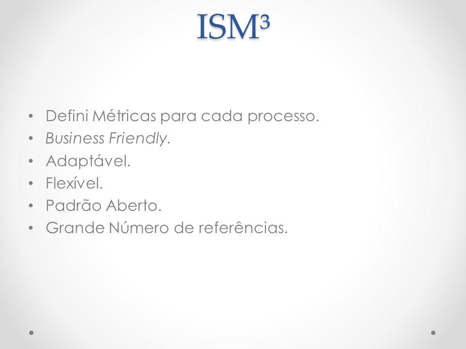 ISM³ Defini Métricas para cada processo. Business Friendly. Adaptável. Flexível. Padrão Aberto. Grande Número de referências.