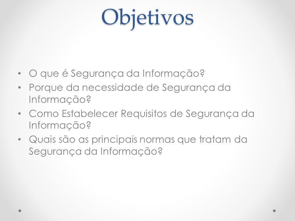 Objetivos O que é Segurança da Informação? Porque da necessidade de Segurança da Informação? Como Estabelecer Requisitos de Segurança da Informação? Q