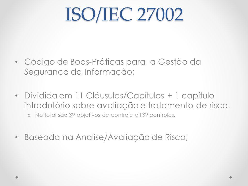 ISO/IEC 27002 Código de Boas-Práticas para a Gestão da Segurança da Informação; Dividida em 11 Cláusulas/Capítulos + 1 capítulo introdutório sobre ava