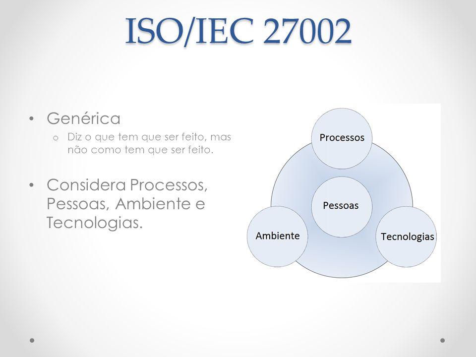 ISO/IEC 27002 Genérica o Diz o que tem que ser feito, mas não como tem que ser feito. Considera Processos, Pessoas, Ambiente e Tecnologias.