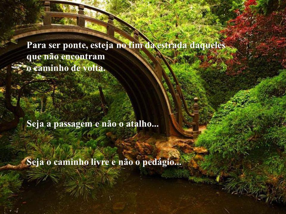 SEJA PONTE! Ponte que liga a vida terrena à eternidade... Para ser ponte, compreenda, perdoe e deixe as pessoas passarem por você.