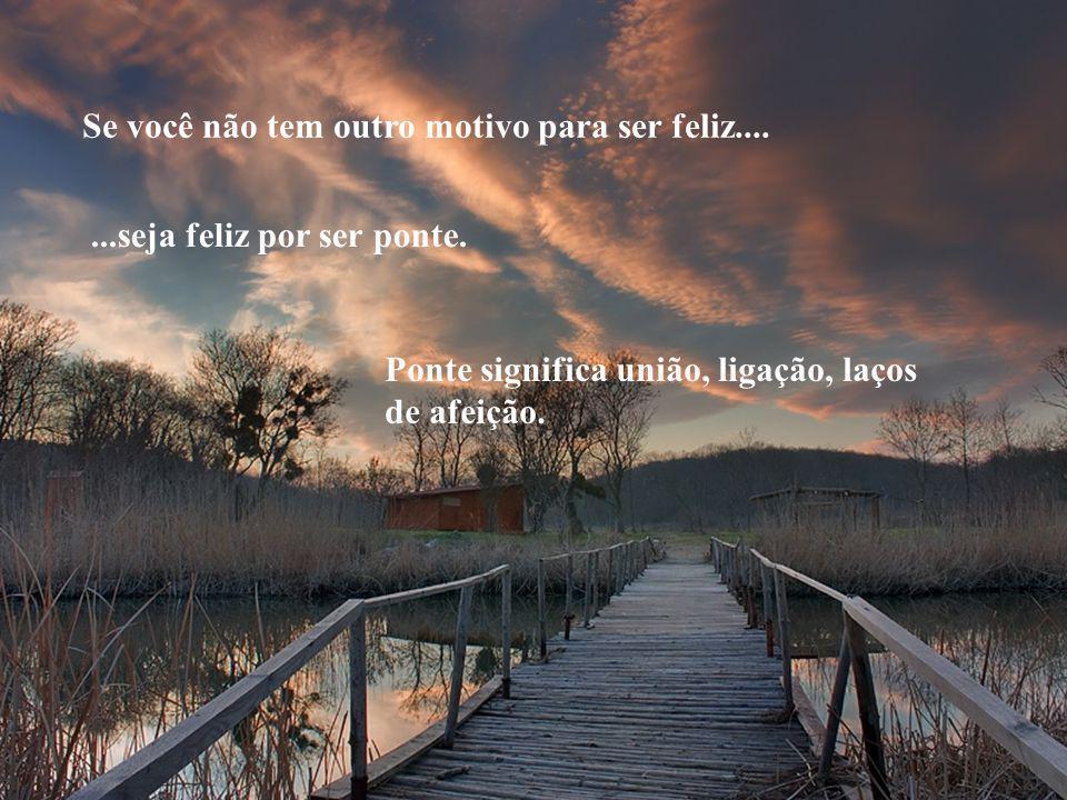 Se você não tem outro motivo para ser feliz.......seja feliz por ser ponte.