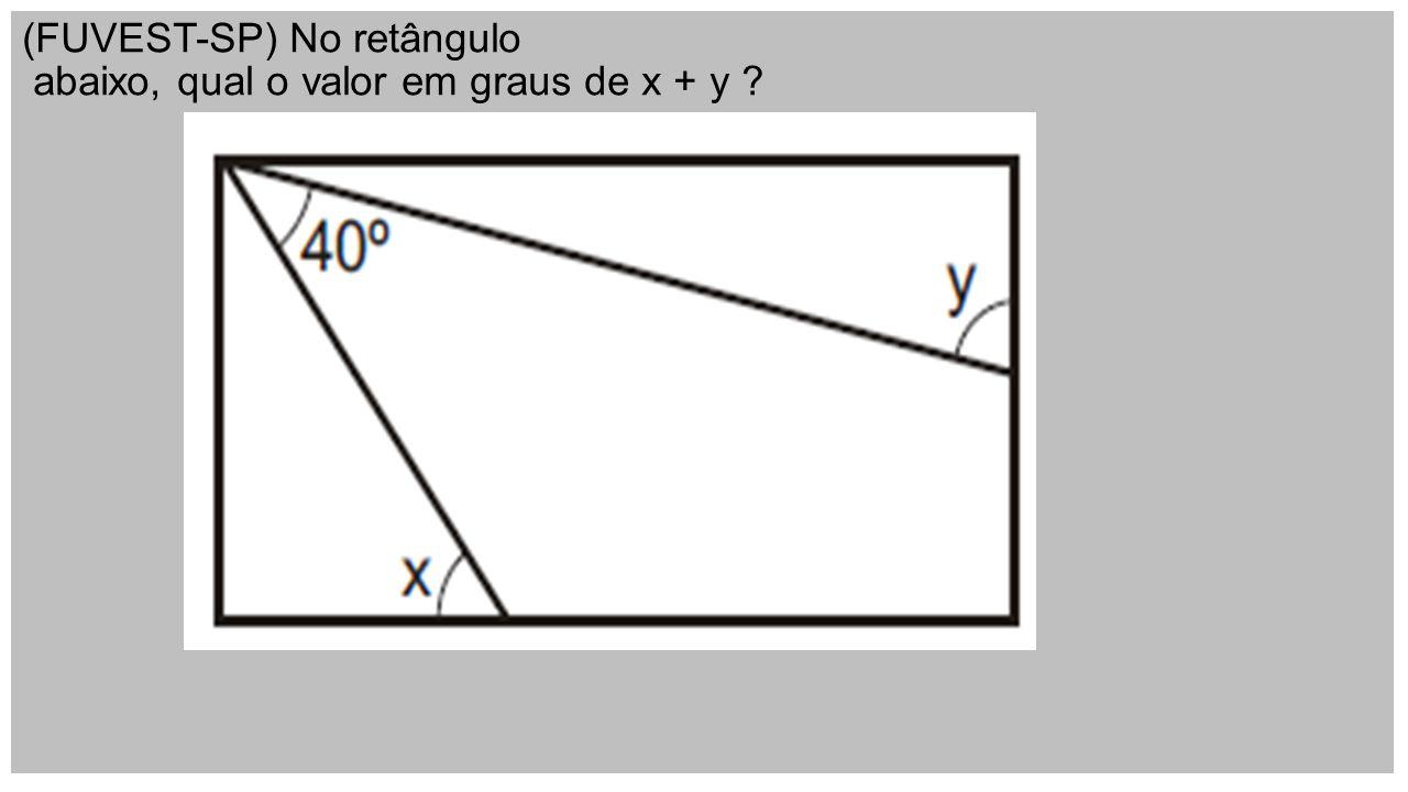 (FUVEST-SP) No retângulo abaixo, qual o valor em graus de x + y ?