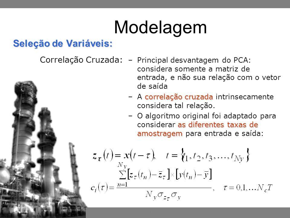Inferência por Redes Neurais Bayesianas –Principal desvantagem do PCA: considera somente a matriz de entrada, e não sua relação com o vetor de saída correlação cruzada –A correlação cruzada intrinsecamente considera tal relação.