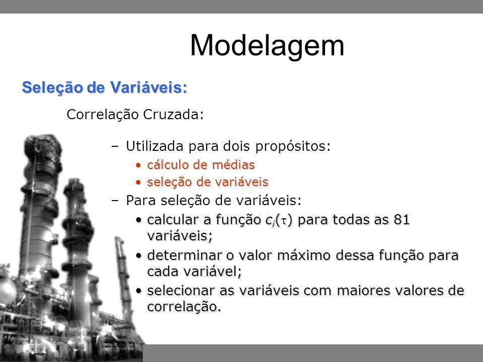 Inferência por Redes Neurais Bayesianas –Utilizada para dois propósitos: cálculo de médiascálculo de médias seleção de variáveisseleção de variáveis –Para seleção de variáveis: calcular a função c i () para todas as 81 variáveis;calcular a função c i () para todas as 81 variáveis; determinar o valor máximo dessa função para cada variável;determinar o valor máximo dessa função para cada variável; selecionar as variáveis com maiores valores de correlação.selecionar as variáveis com maiores valores de correlação.