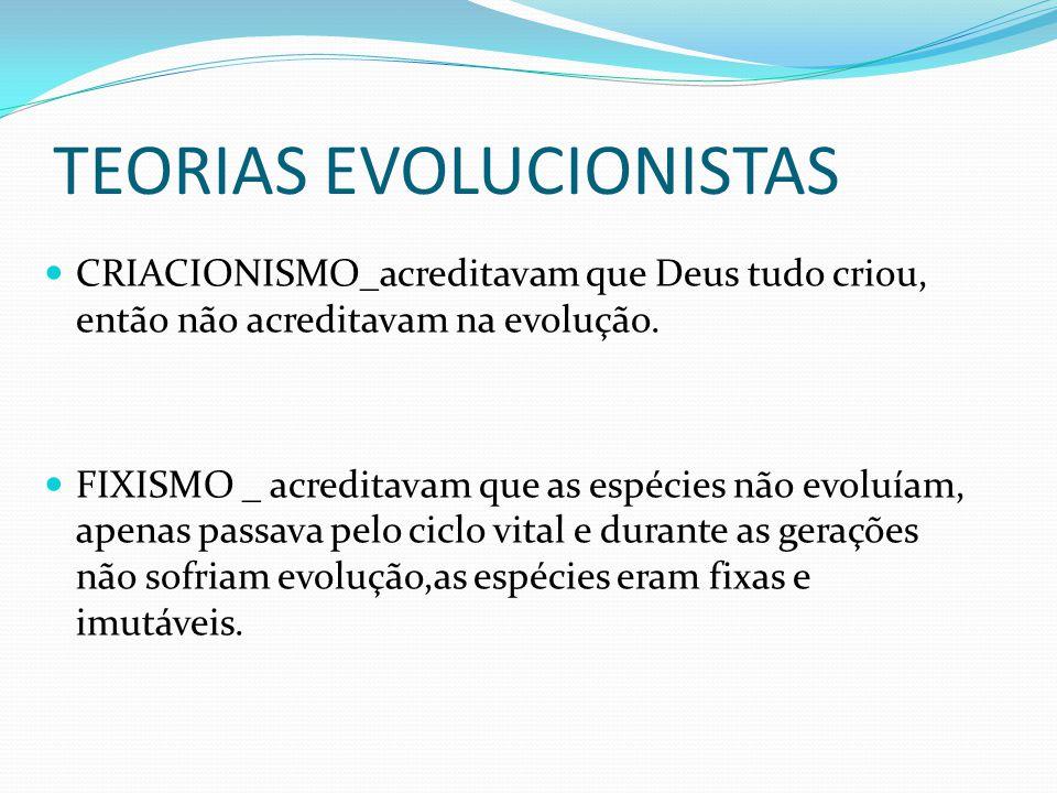 TEORIAS EVOLUCIONISTAS CRIACIONISMO_acreditavam que Deus tudo criou, então não acreditavam na evolução. FIXISMO _ acreditavam que as espécies não evol