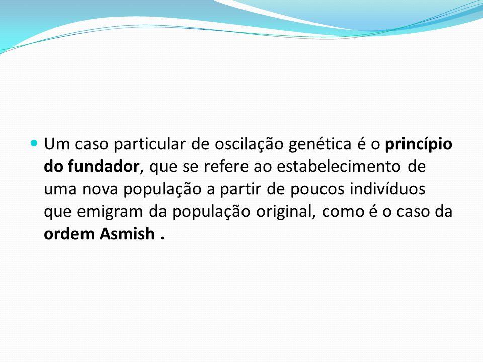 Um caso particular de oscilação genética é o princípio do fundador, que se refere ao estabelecimento de uma nova população a partir de poucos indivídu