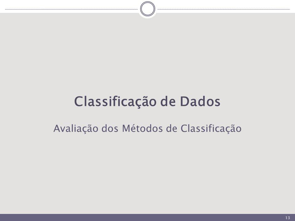 13 Classificação de Dados Avaliação dos Métodos de Classificação