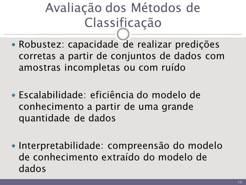 Avaliação dos Métodos de Classificação Robustez: capacidade de realizar predições corretas a partir de conjuntos de dados com amostras incompletas ou com ruído Escalabilidade: eficiência do modelo de conhecimento a partir de uma grande quantidade de dados Interpretabilidade: compreensão do modelo de conhecimento extraído do modelo de dados 15