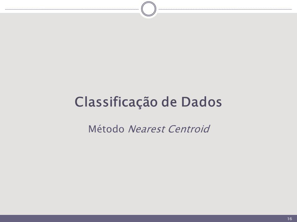 16 Classificação de Dados Método Nearest Centroid