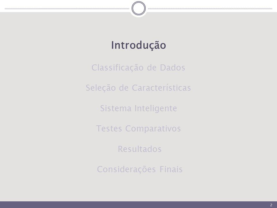 2 Introdução Classificação de Dados Seleção de Características Sistema Inteligente Testes Comparativos Resultados Considerações Finais