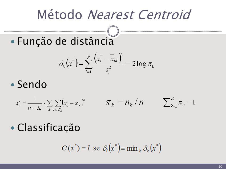 Método Nearest Centroid Função de distância Sendo Classificação 20