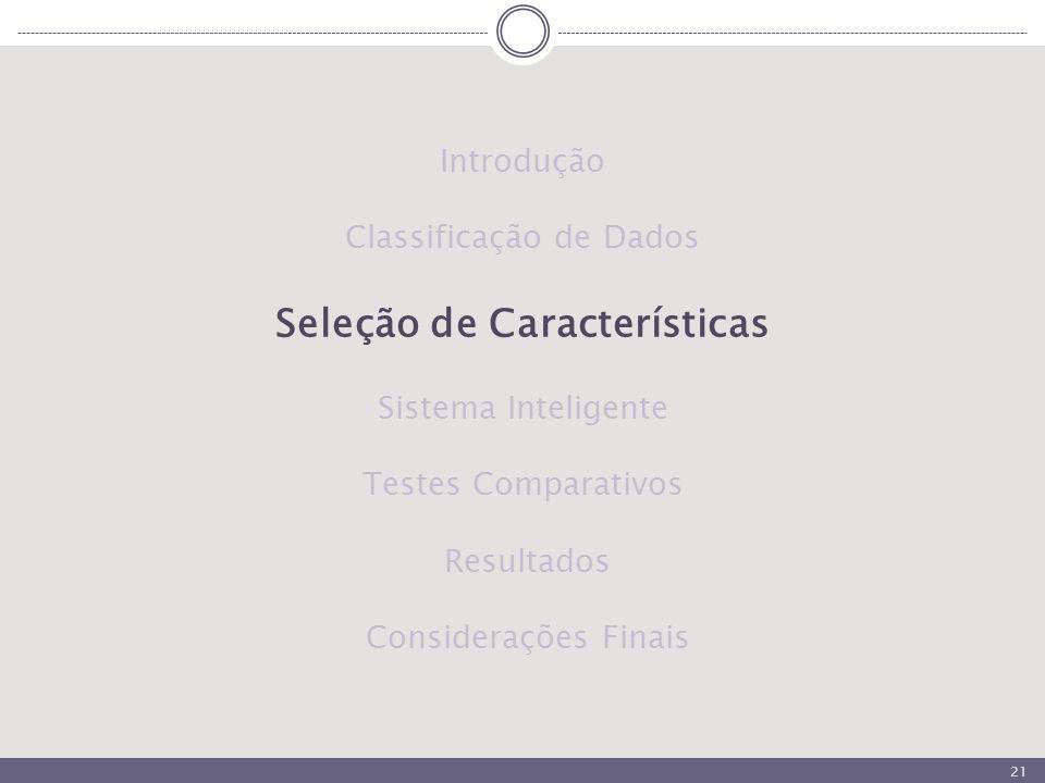 21 Introdução Classificação de Dados Seleção de Características Sistema Inteligente Testes Comparativos Resultados Considerações Finais