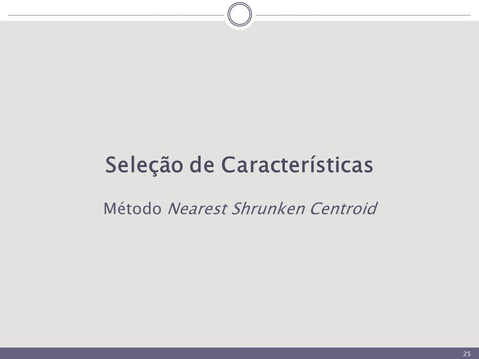 25 Seleção de Características Método Nearest Shrunken Centroid
