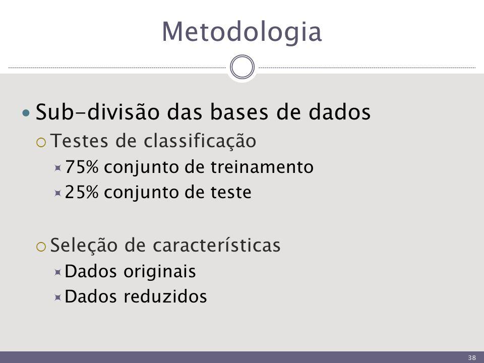 Metodologia Sub-divisão das bases de dados  Testes de classificação  75% conjunto de treinamento  25% conjunto de teste  Seleção de características  Dados originais  Dados reduzidos 38