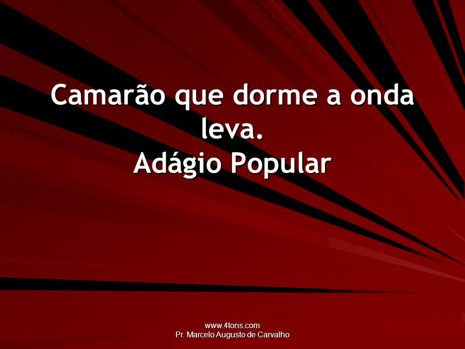 www.4tons.com Pr. Marcelo Augusto de Carvalho Camarão que dorme a onda leva. Adágio Popular