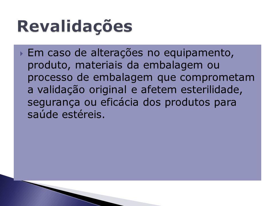  Em caso de alterações no equipamento, produto, materiais da embalagem ou processo de embalagem que comprometam a validação original e afetem esterilidade, segurança ou eficácia dos produtos para saúde estéreis.