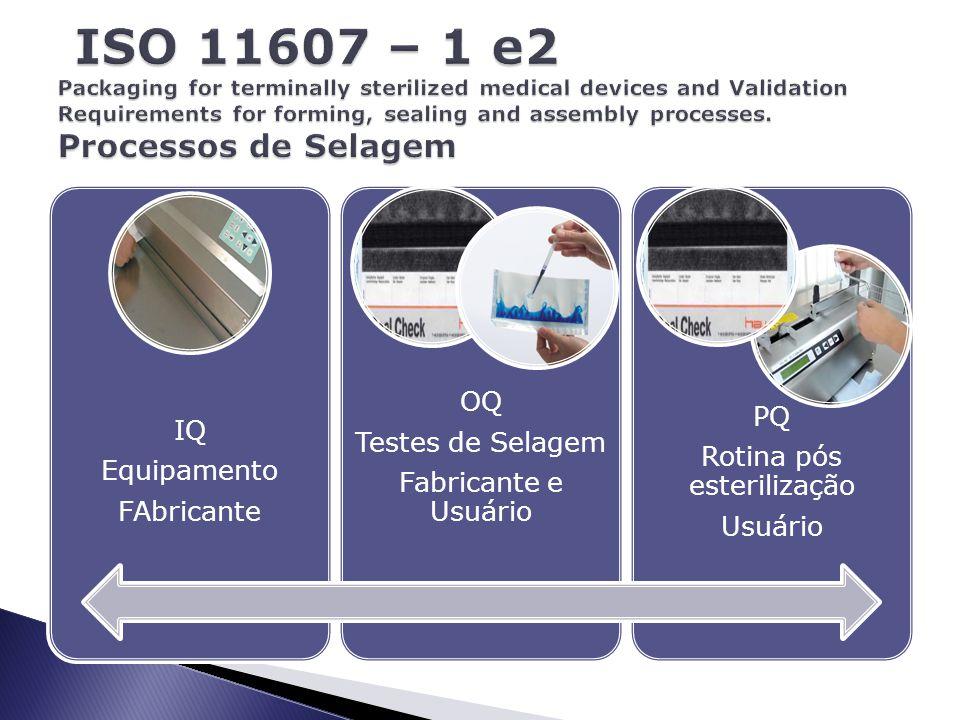 IQ Equipamento FAbricante OQ Testes de Selagem Fabricante e Usuário PQ Rotina pós esterilização Usuário