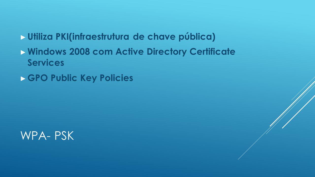 WPA- PSK ► Utiliza PKI(infraestrutura de chave pública) ► Windows 2008 com Active Directory Certificate Services ► GPO Public Key Policies