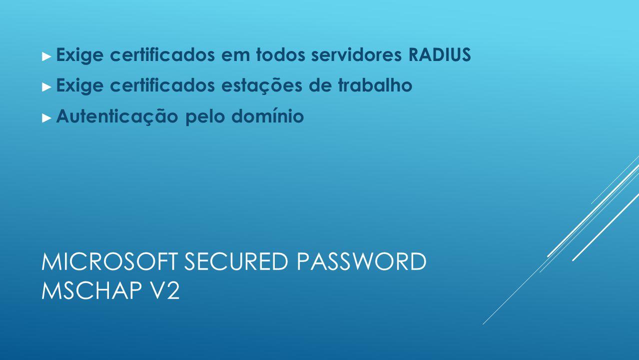MICROSOFT SECURED PASSWORD MSCHAP V2 ► Exige certificados em todos servidores RADIUS ► Exige certificados estações de trabalho ► Autenticação pelo domínio