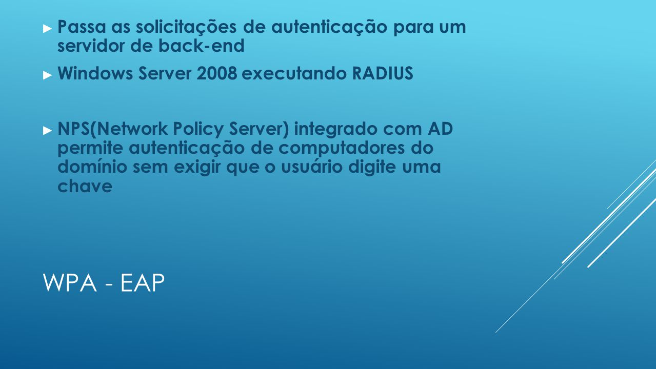 WPA - EAP ► Passa as solicitações de autenticação para um servidor de back-end ► Windows Server 2008 executando RADIUS ► NPS(Network Policy Server) in