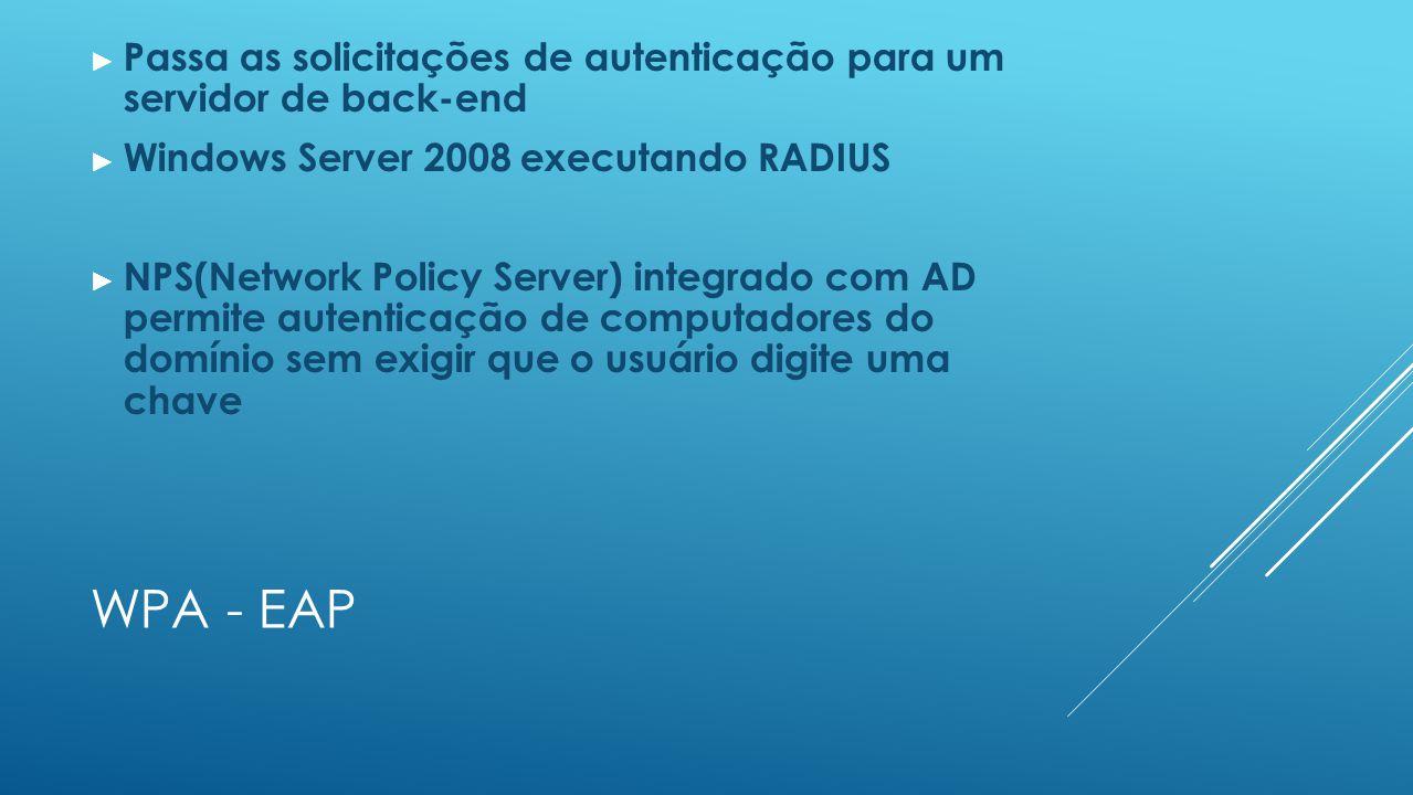 WPA - EAP ► Passa as solicitações de autenticação para um servidor de back-end ► Windows Server 2008 executando RADIUS ► NPS(Network Policy Server) integrado com AD permite autenticação de computadores do domínio sem exigir que o usuário digite uma chave