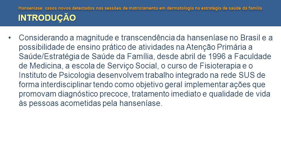 Hanseníase: casos novos detectados nas sessões de matriciamento em dermatologia na estratégia de saúde da família INTRODUÇÃO Considerando a magnitude e transcendência da hanseníase no Brasil e a possibilidade de ensino prático de atividades na Atenção Primária a Saúde/Estratégia de Saúde da Família, desde abril de 1996 a Faculdade de Medicina, a escola de Serviço Social, o curso de Fisioterapia e o Instituto de Psicologia desenvolvem trabalho integrado na rede SUS de forma interdisciplinar tendo como objetivo geral implementar ações que promovam diagnóstico precoce, tratamento imediato e qualidade de vida às pessoas acometidas pela hanseníase.