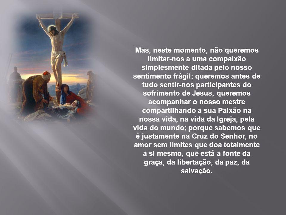 Em oração, com o ânimo recolhido e comovido, percorremos nesta noite o caminho da Cruz. Subimos com Jesus ao Calvário e meditamos o seu sofrimento, to