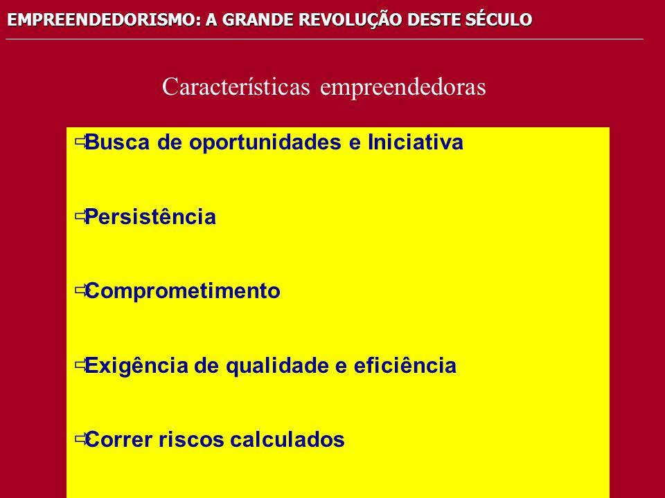 EMPREENDEDORISMO: A GRANDE REVOLUÇÃO DESTE SÉCULO  Busca de oportunidades e Iniciativa  Persistência  Comprometimento  Exigência de qualidade e ef
