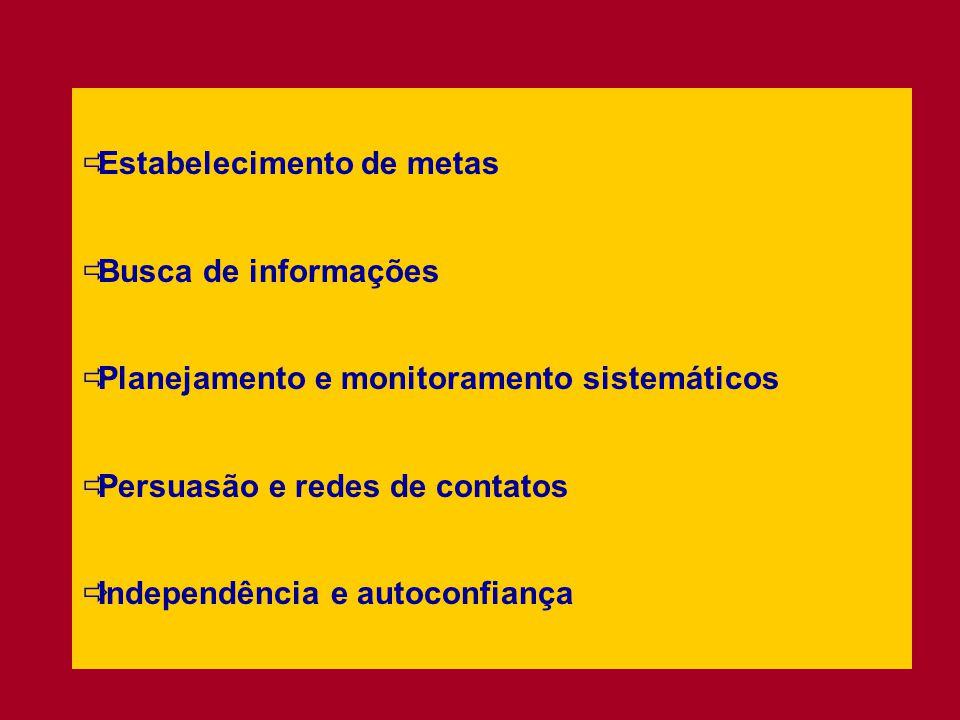  Estabelecimento de metas  Busca de informações  Planejamento e monitoramento sistemáticos  Persuasão e redes de contatos  Independência e autoconfiança