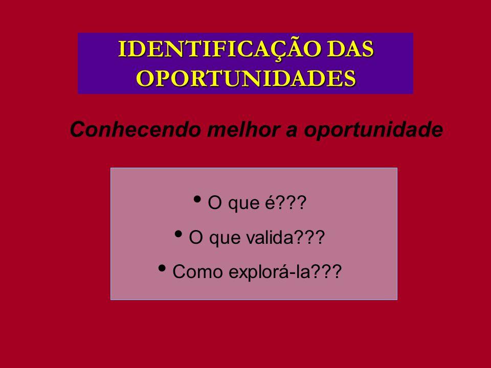 Conhecendo melhor a oportunidade IDENTIFICAÇÃO DAS OPORTUNIDADES O que é??? O que valida??? Como explorá-la???